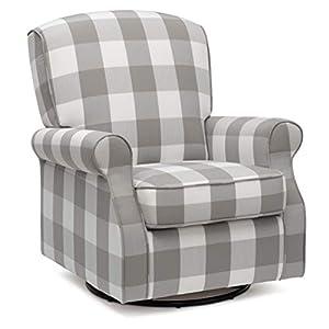 Delta Children Oakley Nursery Glider Swivel Rocker Chair, Grey Plaid