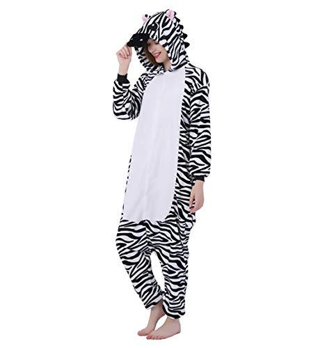 Pijama Animal Entero Unisex con Capucha Cosplay Pyjamas Ropa de Dormir Traje de Disfraz para Festival de Carnaval Halloween Navidad (Cebra, L)