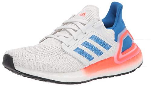 adidas Men's Ultraboost 20 Sneaker, Crystal White/Glory Blue/Solar Red, 4.5 UK
