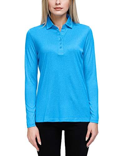 Women's Long Sleeve V Neck Golf Shirts Moisture Wicking Performance Knit Tops Blue-XL