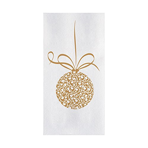 """Hoffmaster 856791 Linen-Like Ornament Guest Towel, 1/6 Fold, 12"""" Width x 17"""" Length, Printed (4 Packs of 125) (Pack of 500)"""