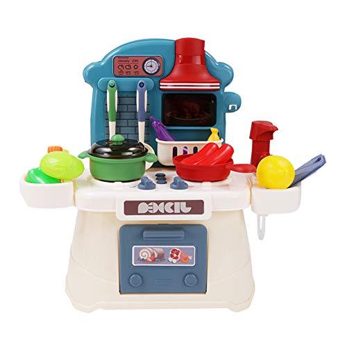 dontdo 26 piezas Qiqilele simulación juguetes de cocina para niños y niñas niños juego casa vajilla con música ligera juego de juguete de cocina Set niños regalo azul