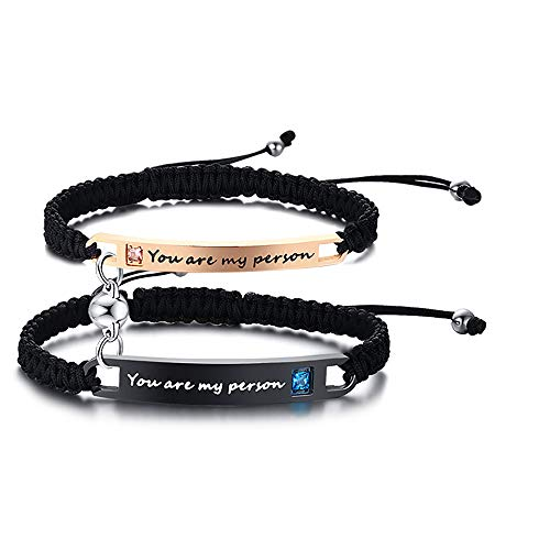 XUANPAI Handmade Braided Rope Matching Engraved You are My Person Couples...