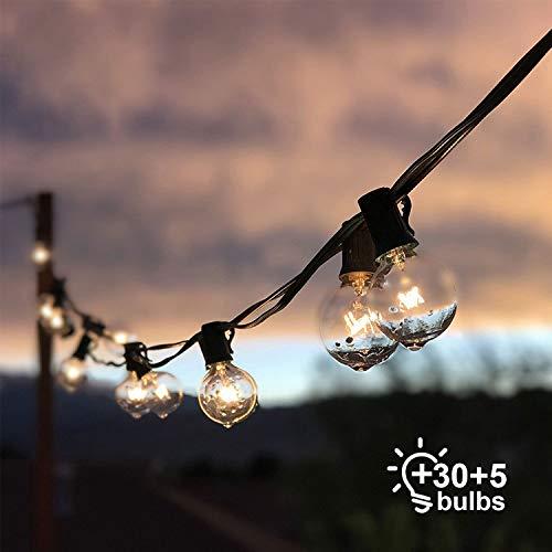 Cadena de Luces, Qomolo G40 Exterior Guirnalda Luces Con 30 Bombillas Y 5 Bombillas de Repuesto, 35ft Cable, Decoración Luz Interior y Exterior para Patio, Jardín, Fiesta, Bodas, Navidad