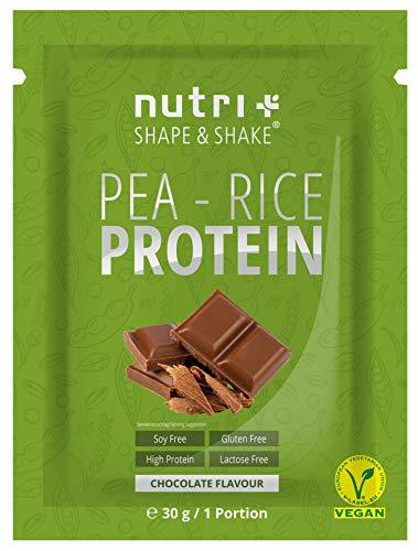 Erbsen-Reis-Protein Probe Schoko 30g - Veganes Eiweißpulver ohne Soja, Gluten, Laktose, Zucker - Schokolade 1kg - Hypoallergen - Eiweiß Vegan mit Erbsenprotein aus Deutschland