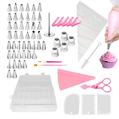 Cake Decorating Tips, Cake Decorating Kits with Piping Bags and Cake Icing Tips, Smoother, Piping Nozzles Coupler, Decorating Pen, Cleaning brush and Flower Nails for Baking Decorating Cake -83PCs
