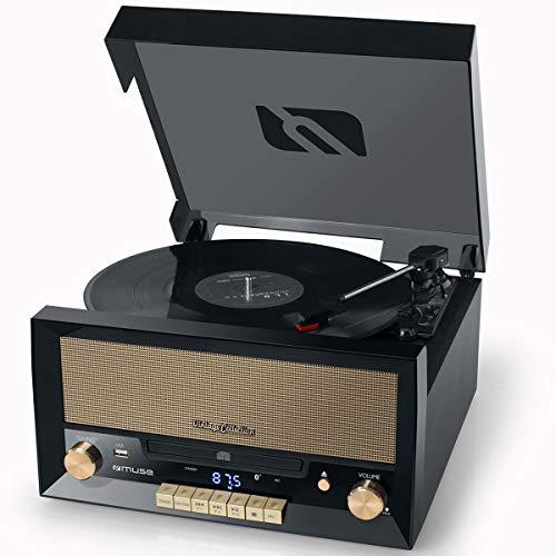 Muse MT-110 B retro stereo-installatie met platenspeler, bluetooth, cd-speler en radio met USB voor afspelen en opnemen, zwart