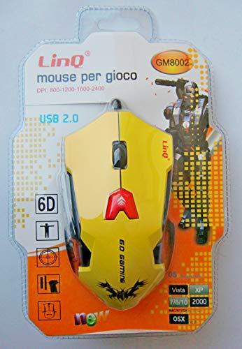 MOUSE 6D GAMING LINQ GM8002 DA GIOCO MAX 2400 Dpi REGOLABILE da 4 LIVELLI CAVO USB FULL COLOR NERO ROSSO GIALLO