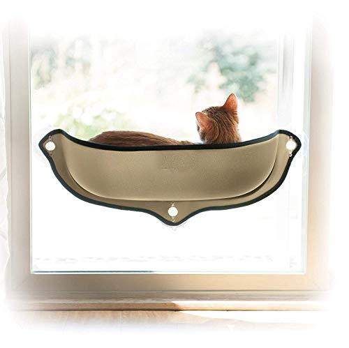 Ducomi Kitties - Amaca Gatto per Finestra con Ventose Forti e Resistenti - Portata Massima 10 kg - Fornisce Un Giaciglio Perfetto per i Tuoi Gatti - Include Cuscino Soffice e Caldo (Beige)