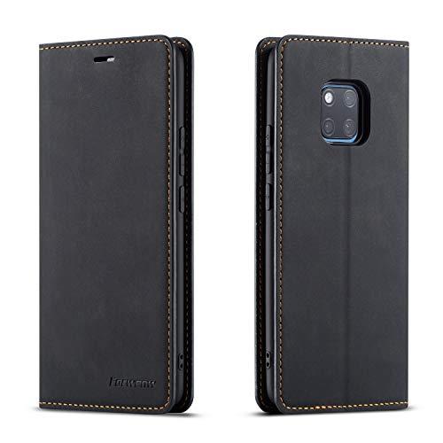 QLTYPRI Hülle für Huawei Mate 20 Pro, Premium Dünne Ledertasche Handyhülle mit Kartenfach Ständer Flip Schutzhülle Kompatibel mit Huawei Mate 20 Pro - Schwarz