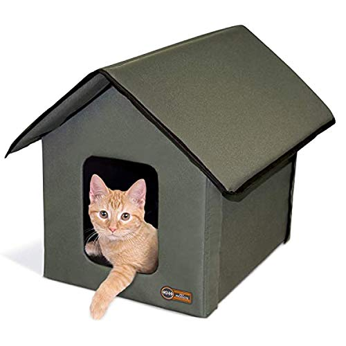 K&H PET PRODUCTS Outdoor Kitty House Cat Shelter (Unheated) Olive Green 18 X 22 X 17 Inches