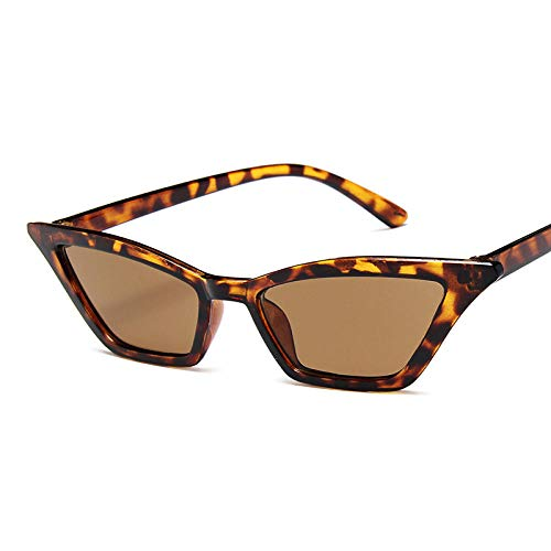 DLSM Gafas de Sol de Ojo de Gato Mujeres Luz Cuadrada Gafas de Sol Vintage Personalidad Colorido Océano Cine de Navidad Trasas para Mujeres-Té Leopardo