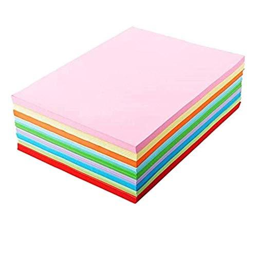 TOKERD 100 Blätter Buntpapier A4 Kopierpapier 160g /m²Bastelpapier Bunt Druckerpapier mit 10 Farben, A4 Groß Origami-papier Farbige Papiere Tonkarton zum Basteln Dekoration