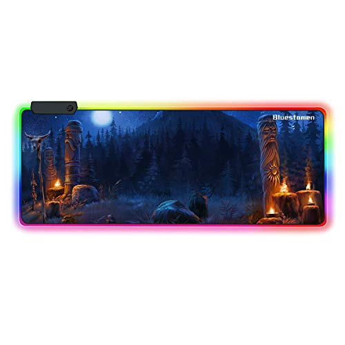 Bluestamen Large Glowing LED Gaming Mouse Pad, 11 Mode Extended Soft Mousepad Smooth Surface and Non-Slip Rubber Base Computer Keyboard Pad Mat (M04, 31.5 x 11.8 inch)