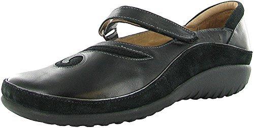 NAOT Footwear Women's Matai Maryjane Black Madras Lthr/Black Suede 6 M US