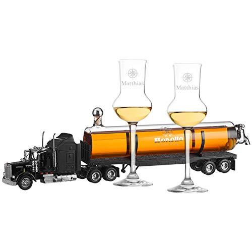 polar-effekt Bonollo Decanter per camion con 2 bicchieri da grappa personali – Motivo a scelta – 0,5 l – Decanter Grappa – ideale per addio, compleanno, anniversario – Motivo elegante bussola