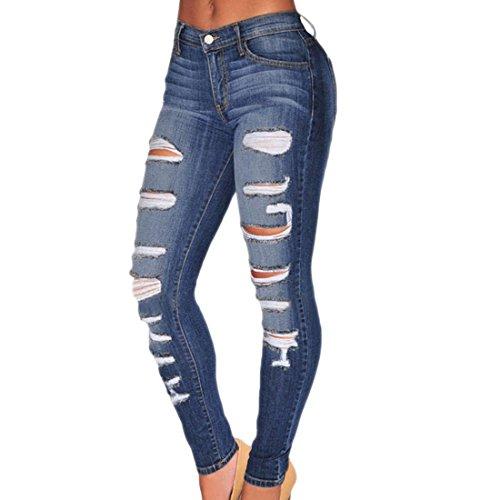 New Sexy Women Denim Skinny Pants Broken Hole Stretch Jeans Slim Pencil Trousers