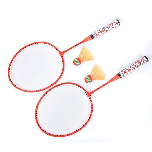 Vbest life 1 Paar Kinder Badmintonschläger Set, Outdoor Indoor Kids Sportspiel Badminton Schläger Set mit 2 Bällen(Fluoreszierendes Orange)