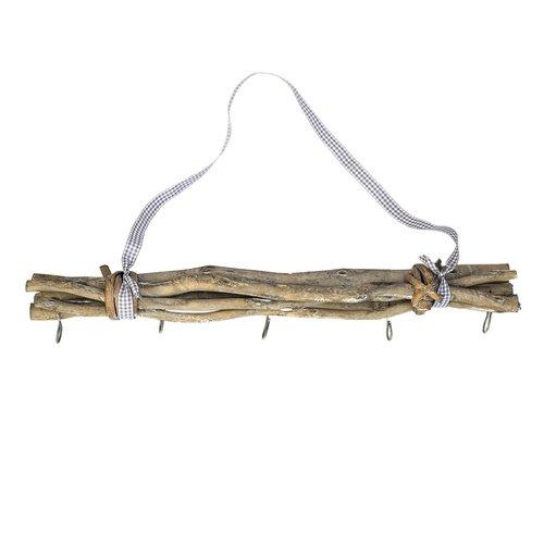 Hänger Holzbündel, Wand - Deckendeko mit 5 Haken, grau