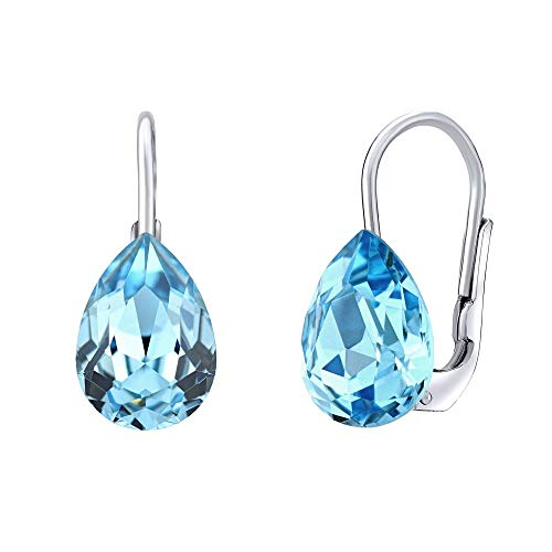 SILVEGO Women's earrings made of 925 sterling silver with Swarovski crystals teardrop blue