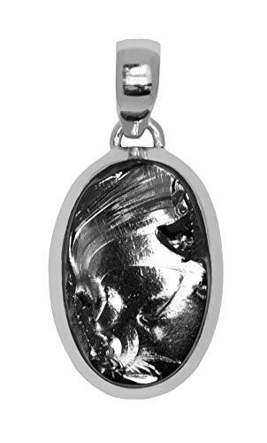ERCE elite shungit colgante oval, plata de ley 925, longitud 4,7 cm