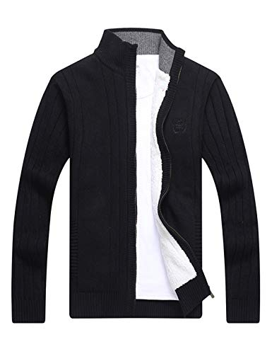 Yeokou Mens Casual Sherpa Lined Full Zip Knitted Cardigan Sweater Jacket Pocket (X-Small, Black)