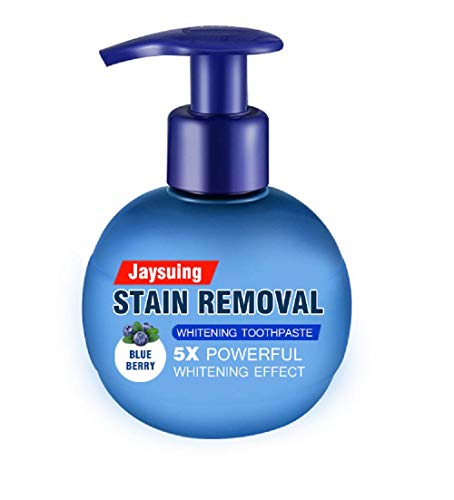 Press Toothpaste,Baking Soda Whitening Toothpaste,Jaysuing Stain Removal Whitening Toothpaste Strong Cleaning Power Natural Stain Remover Fluoride-Free Toothpaste(Blueberry Flavor)