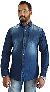 SKOR NX Men's Denim/Jeans Dark-Blue Solid Full Sleeve Casual Slim Fit Shirt