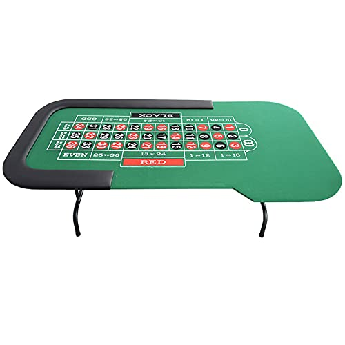 JLFFYJ Mesa de Póquer Plegable, Mesa de Blackjack Plegable, Mesas de Juego de Cartas para Póquer y Blackjack con Rieles Acolchados, Fácil de Almacenar 215x106 / 97x75cm, Verde