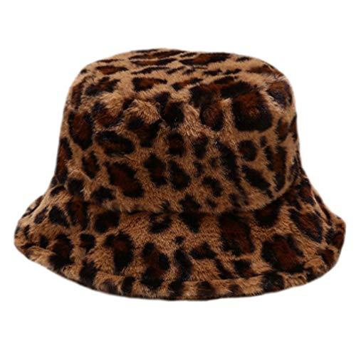 VALICLUD Guepardo Sombrero de Pescador Moda Borroso Sombrero de Pescador Leopardo Sombreros de Cubo Mujeres Invierno Cálido Sombrero