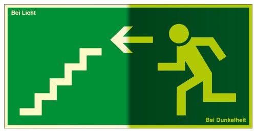 Fluchtwegschild - Treppe abwärts, Links - Selbstklebende Folie, lang nachleuchtend - 10 x 20 cm
