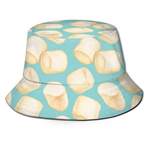 Mesllings Sonnenhut Marshmallows Blue Bucket Cap UV Sonnenschutz Fischerhut Faltbar Leicht Atmungsaktiv Outdoor Travel Cap 2020 FW