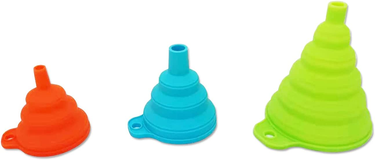 Silicone Collapsible Funnel 3 Pack Different Models, ?Funnels for Kitchen use Funnelsfor Filling Bottles ?Food Grade for Transferring liquids and Powders in Aliquots