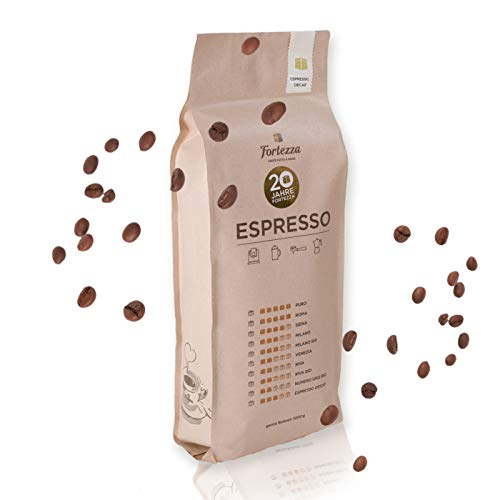 Fortezza Espresso CO2 DECAF - Entkoffeinierte Kaffeebohnen - Coffee Beans Made in Germany - Kaffeebohnen aus mehrfach ausgezeichneter Rösterei ohne Koffein (1 KG)