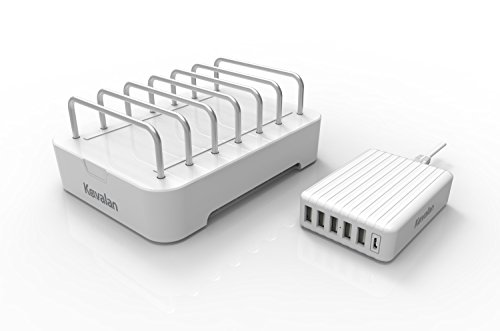 Kavalan 2-in-1 6 Port USB Charging Station for Multiple Devices + Removable 60W USB Type A & Type C Charger Hub, Universal USB Charging Dock Organizer for Smart Phone, Tablet and More (White)