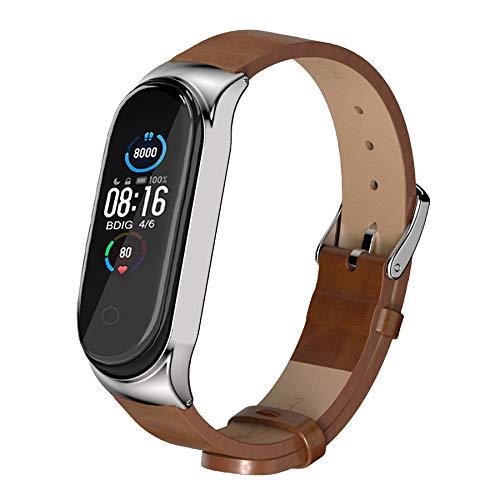 BDIG Armband Kompatibel für Xiaomi Mi Band 6 Mi Band 5, Leder MiBand 4 Ersatzband Lederarmband Replacement Smart Band Watch Strap Uhrenarmband Zubehör für Xiaomi Miband 3