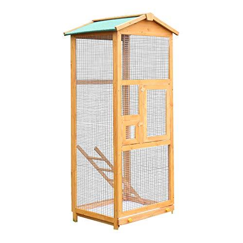 Pawhut Jaula para Pájaros Grande Pajarera de Madera de Pino con 2 Puertas Bandeja Extraíble y Techo Asfáltico 68x63x165 cm