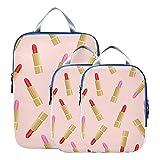 Organizadores de maletas Maquillaje hermoso Lápiz labial colorido para niña Accesorios de viaje Bolsas de equipaje expandibles para viajes Para equipaje de mano, viajes (juego de 3)