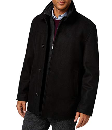 London Fog Men's L10116M Wool Blend Car Coat with Bib - Black - M