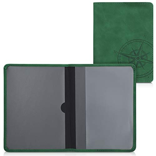 kwmobile Funda para permiso de circulación coche de piel sintética nobuk - Para documentos 10.5 x 14.8 CM doblados - verde oscuro