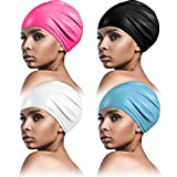4 Pieces Large Silicone Swim Cap Swimming Pool Cap for Men and Women, Unisex Swimming Cap for Long Hair, Dreadlocks, Weaves, Hair Extensions, Braids, Curls and Afros
