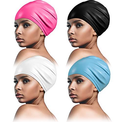 4 Stücke Große Silikon Schwimmkappe für Männer und Frauen, Unisex Badekappe für Langes Haar, Webstoffe, Haar Verlängerungen, Zöpfe, Locken und Afros