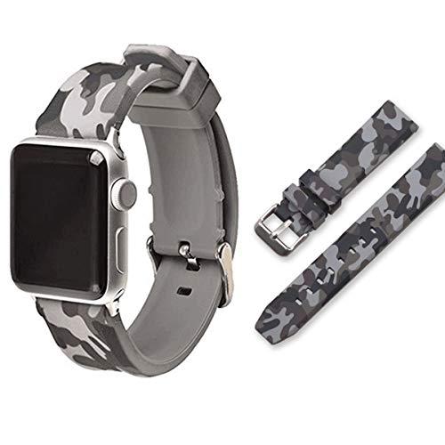 Dreamworldeu Kompatibel Armband für Apple Watch 44mm 42mm 40mm 38mm,Weiche Silikon Camouflage Sport Ersatz Armband für iWatch Series 4/3/2/1