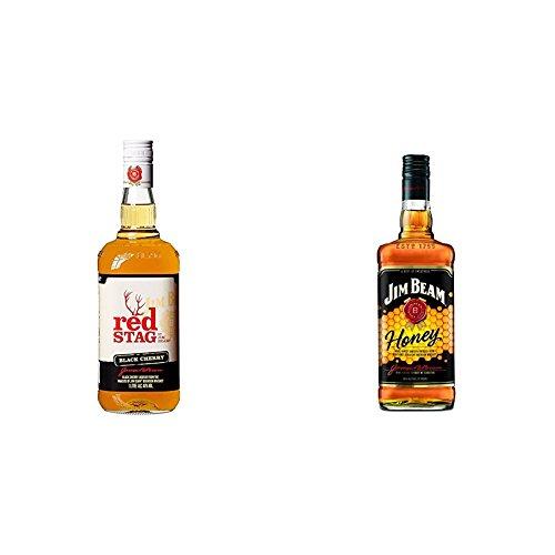 Jim Beam Red Stag Black Cherry Whiskey-Likör + Jim Beam Honey Whiskey-Likör (2 x 0.7 l)