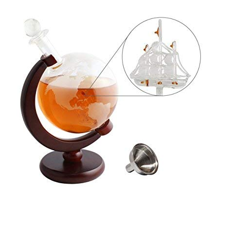 Whiskey Decanter Globe World Etched Globe Liquor Decanter (Large 1000ml) with Antique Ship Wooden Stand Pour Funnel Perfect for Liquor, Spirits, Bourbon, Scotch, Vodka or Wine