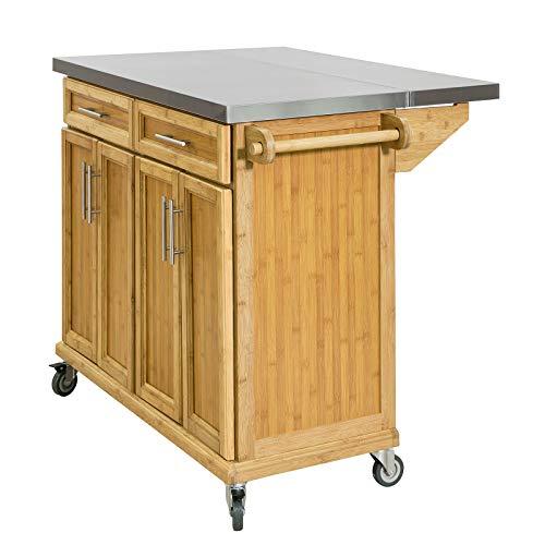 SoBuy FKW69-N Kücheninsel Küchenwagen mit erweiterbarer Edelstahlarbeitsplatte Küchenschrank Servierwagen Bambus BHT ca.: 115x92x46-71cm