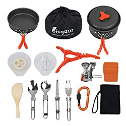 Image of Bisgear 17Pcs Camping Cookware Stove Carabiner Canister Stand Tripod Folding Spork Set Outdoor Camping Hiking Backpacking Non-Stick Cooking Picnic Knife Spoon: Bestviewsreviews