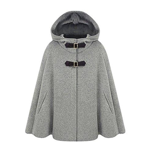 WanYang Donna Moda Batwing Cape Poncho di lana giacca calda mantello incappucciato cappotto CN Taglia S Grigio