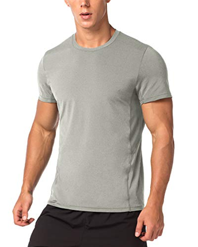 LAPASA Camiseta Deportiva Hombre de Manga Corta Transpirable y Secado Rápido con Microperforación en los Costados M15 (M (Largo 70, H-H 41,5, Pecho 96-102 cm), Gris)