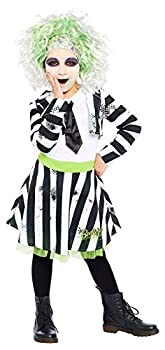 Girls Beetlejuice Black White Stripy Crazy Ghost Halloween Film Fancy Dress Costume Outfit 4-12 Years  6-8 Years